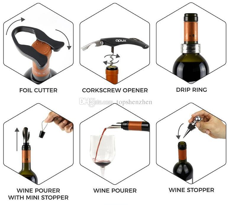 Deluxe Wine Accessory Gift Set - Wine Bottle Opener Stopper Drip Ring Foil Cutter and Wine Pourer, Novelty Bottle-Shaped Gift