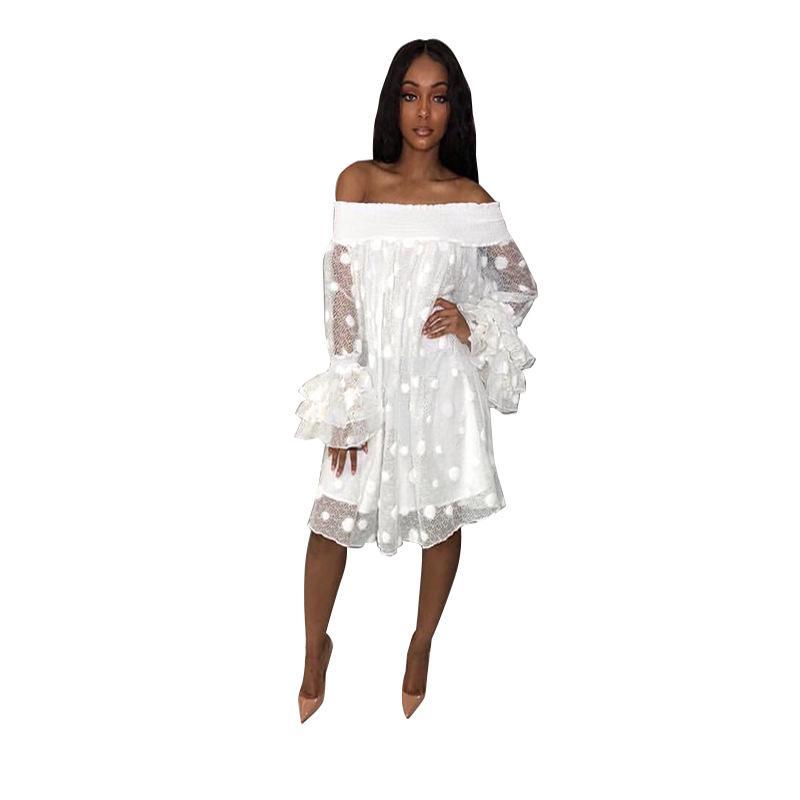 ef6598dbd5 Compre Polka Dot Vestido De Renda Branca Mulheres Streetwear Casual Vestidos  De Verão Manga Flare Em Camadas De Malha Fora Do Ombro Vestido De Festa De  ...