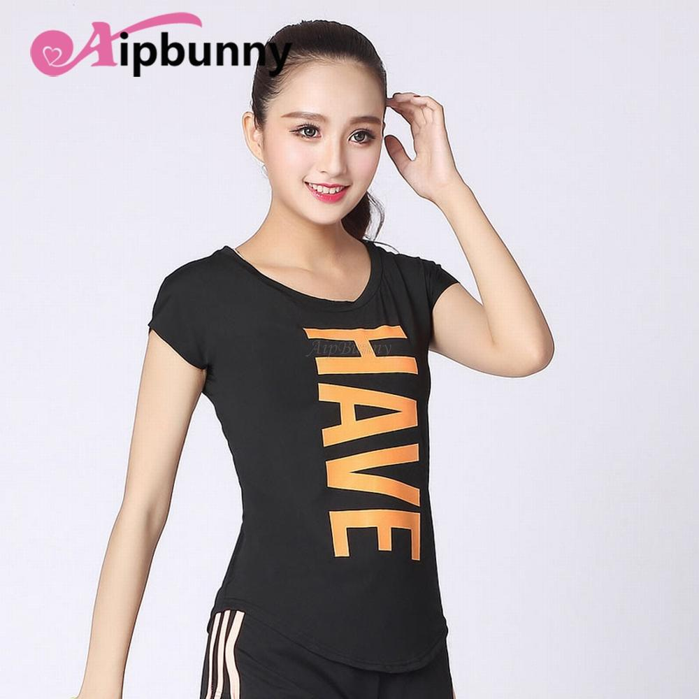 fa8d90f519d8c Ultrathin Breathable Short Sleeves T Shirt Printed Women Yoga Shirt ...