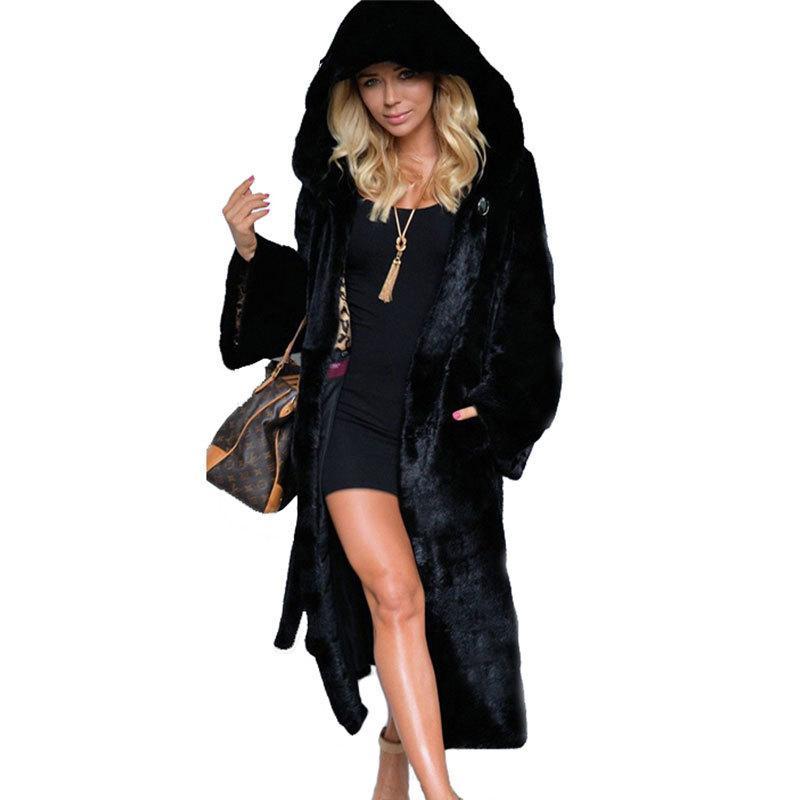 ced58d3d0 Noir À Capuche En Fausse Fourrure Manteau D'hiver Femmes Longs Faux Fox En  Fourrure De Veste Veste 2018 Mode Poches Lâches Manteaux Élégant Lady ...