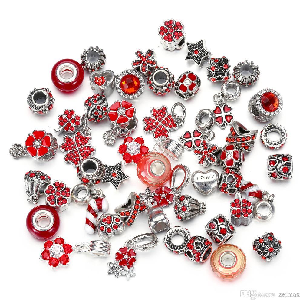 50 adet Avrupa Boncuk Emniyet Zinciri Boncuk Charm Avrupa Boncuk Fit Pandora Bilezikler için Mix renk Ücretsiz kargo