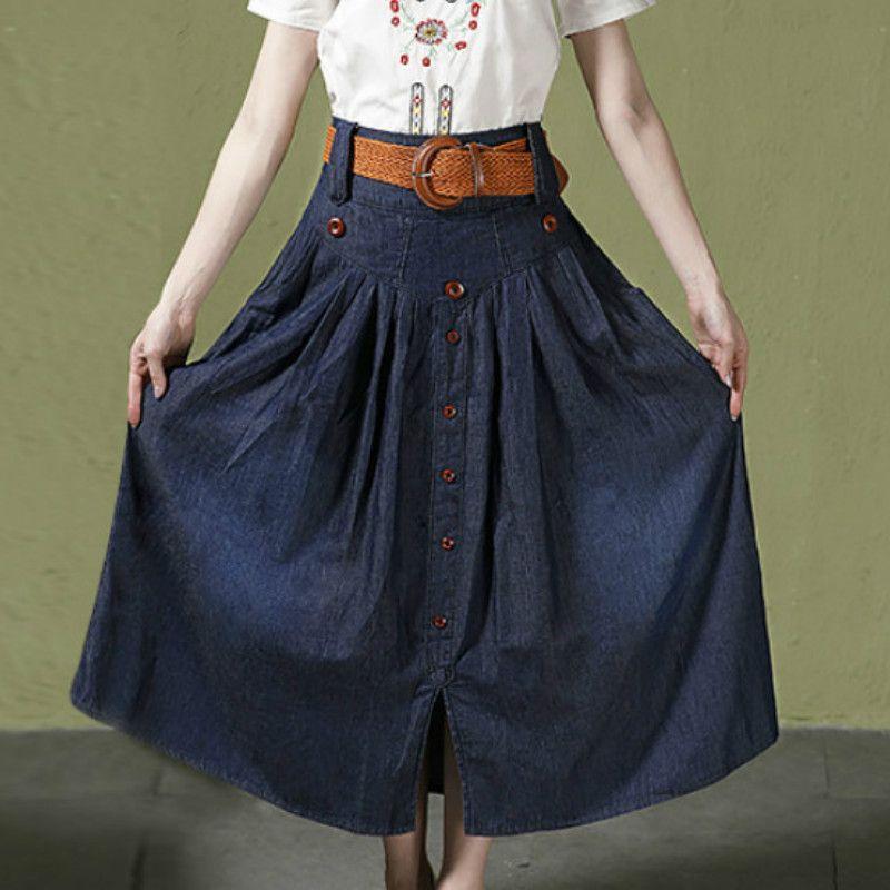 961abed6d59 3XL 4xl 5xl 6XL Women s Casual Elastic Waist Wide Flare Skirt Lady s ...