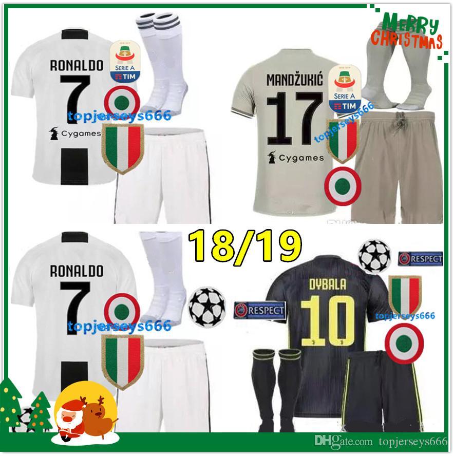 promo code 38b0a 8092d Adult Juventus Soccer Jersey kit AAA+ 2018 2019 juve 7 RONALDO 10 DYBALA 11  D. Costa 17 MANDZUKIC BUFFON third Football shirt uniforms