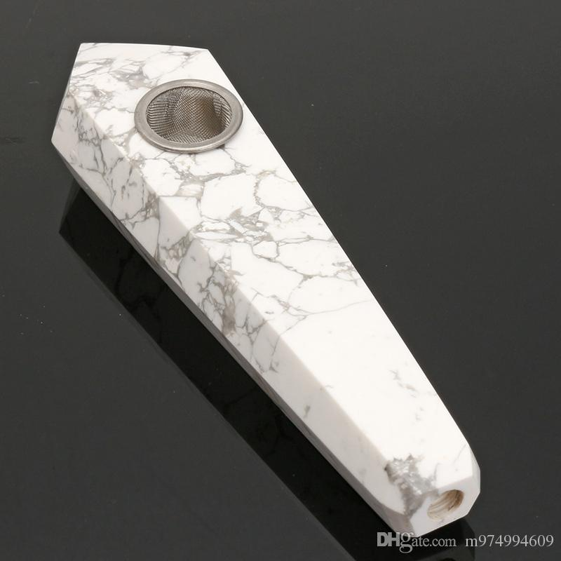 100% Natural White Turquoise Crystal Wand Point smoking Pipe Healing Wand Carved Crystal Pipe Gemstone tabocco holder Crafts Gift