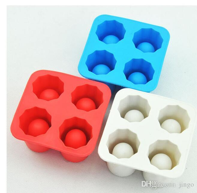 4-Cup Ice Cube Shot Shape Silicone Shooters Glass Freeze Molds Maker Tray Party Bar Tools Ice Shot Glass Mold