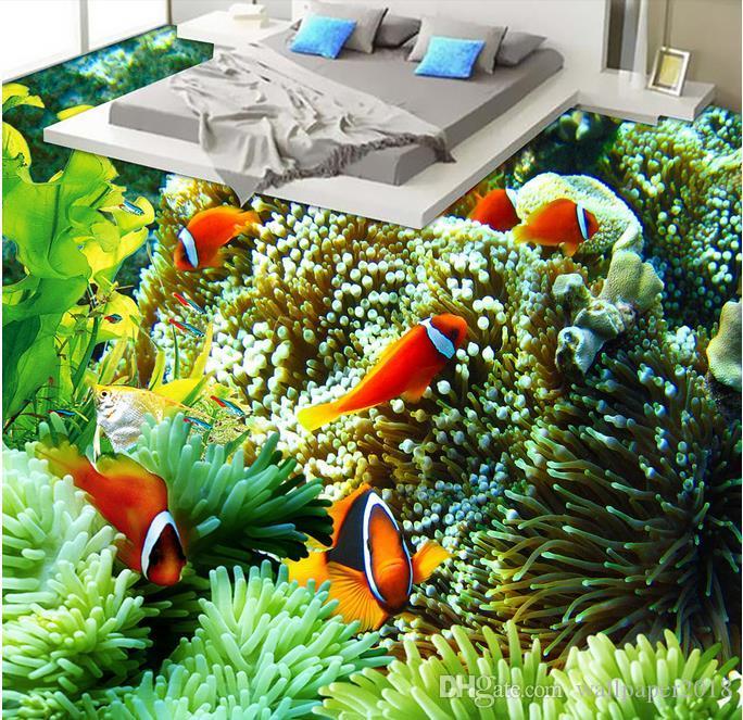 papel de parede Color Submarino Mundo Baño Baño Dormitorio Piso Papel pintado para la habitación de los niños