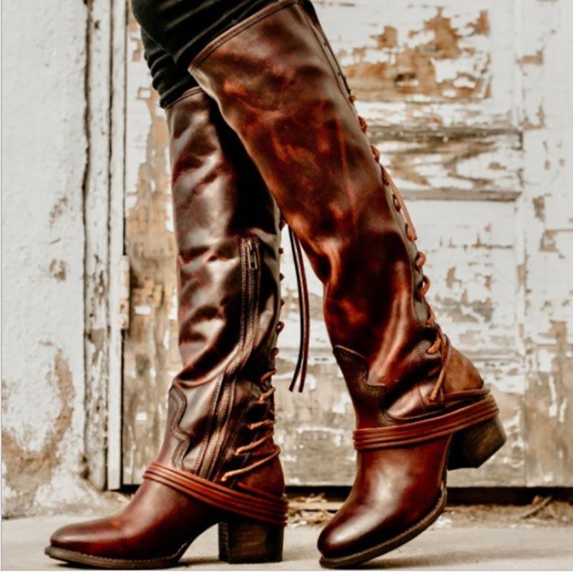 d106a3bd6a535 AINER CAT 2018 Autumn Winter Long Boots New Style Women Flat Low Heel Over  The Boots Female Lace Up Thigh High High Heel Shoes Wedges Shoes From  Palexxx, ...