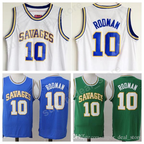 Men High School 10 Dennis Rodman College Jersey Oklahoma Savages Basketball  Rodman Jersey Blue White Green All Stitched Wholesale Cheap UK 2019 From ... 7e15af332