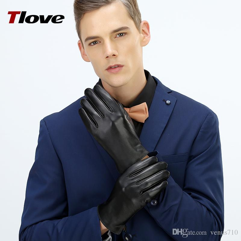 Wholesale- 2017 Top Quality 100% SheepSkin Full Palm Touch Screen Mens Winter Gloves,Classic Business Style in Genuine Leather 6616