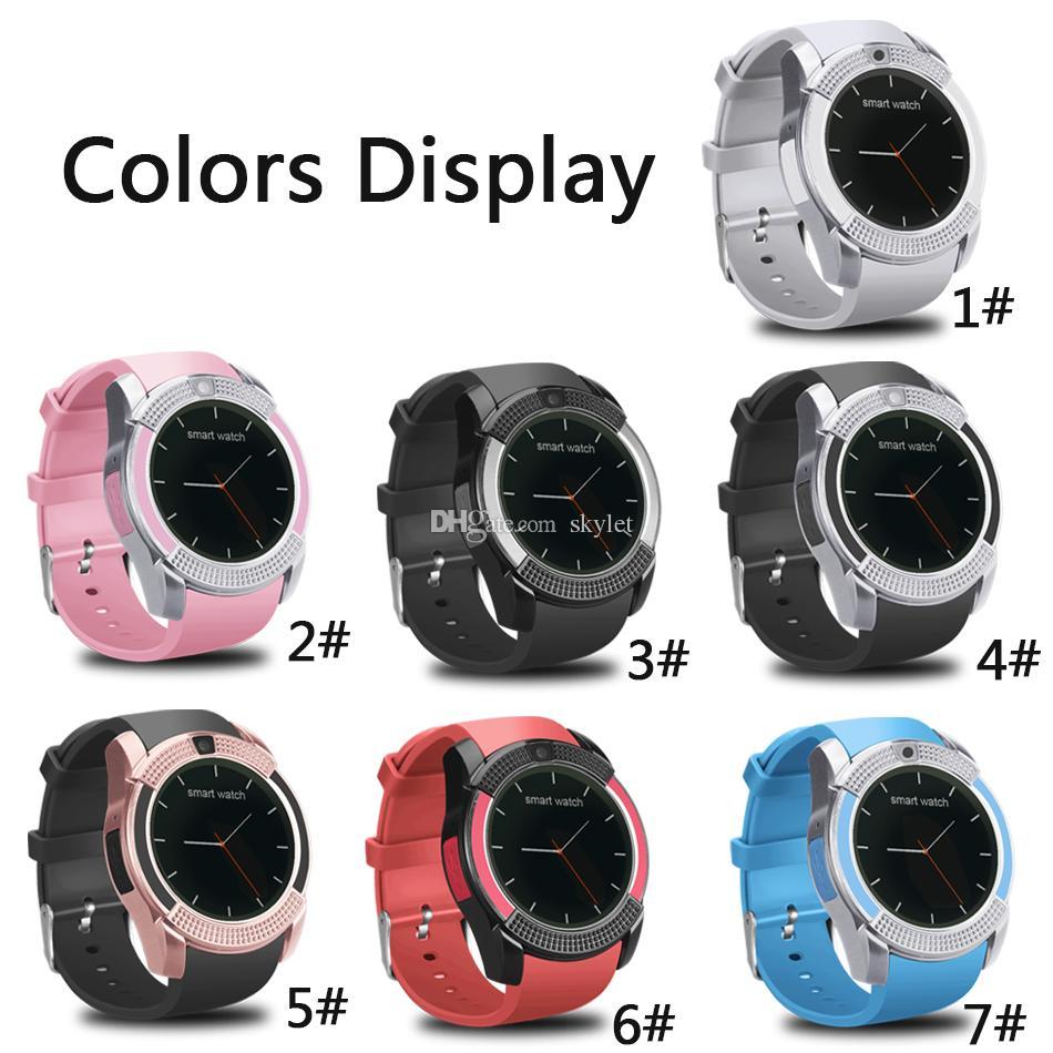 V8 relógio inteligente Pulseira Watch Band Com 0.3M Camera SIM IPS HD Full Circle Smart Display Relógio Para Sistema Android Com Box