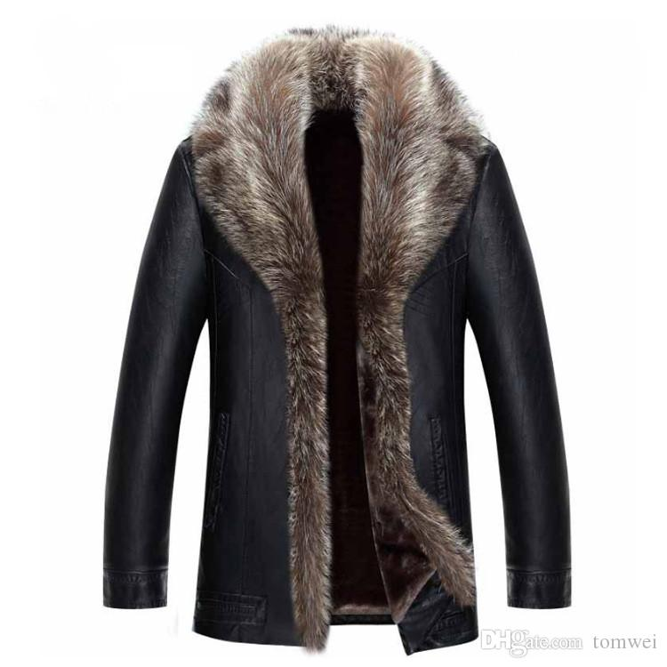 Mens Winter Coat Fur Inside Leather Jacket Real Raccoon Fur Hood Luxury Outwear Overcoat Warm Thickening Tops Plus Size 4XL 5XL 2017 Hot