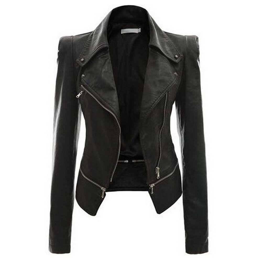 269594c4ad3 2018 Autumn Women Faux Leather Jacket Gothic Black Moto Jacket ...