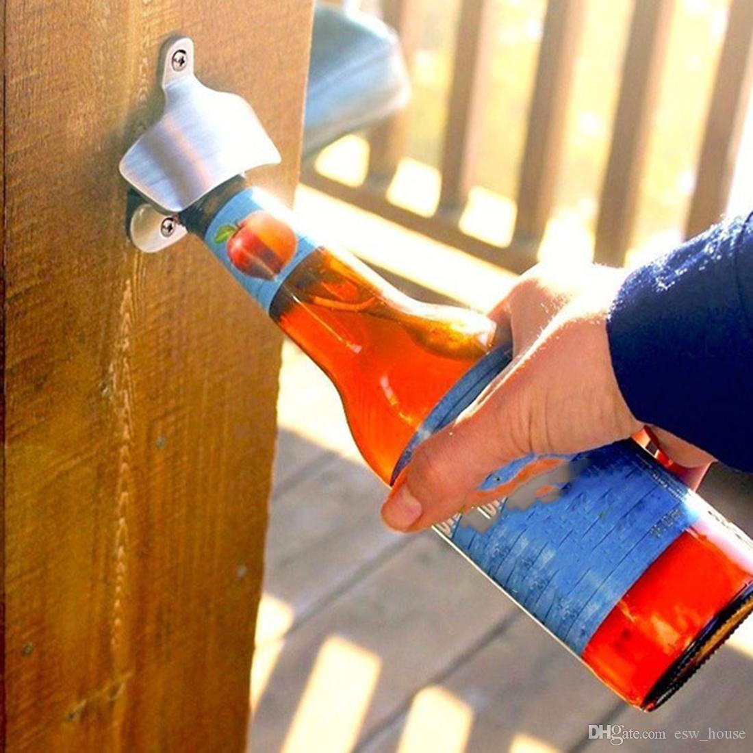 الفولاذ المقاوم للصدأ جدار الخيالة فتاحة زجاجات فتاحة زجاجات الحائط الإبداعية فتاحة زجاجات البيرة استخدام مسامير الإصلاح على الحائط شحن مجاني