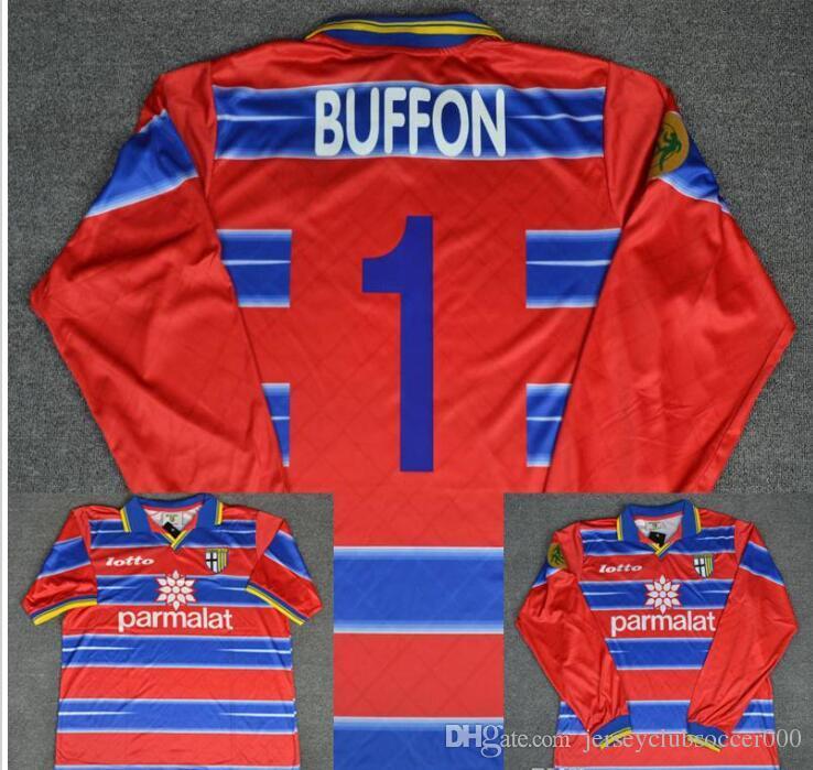 03f867bdd 2019 98 99 Parma Calcio Goalkeeper Buffon Red Long Sleeve Retro Soccer  Jersey 1998 1999 Italia Classic Football Shirts Maillot De Foot From ...