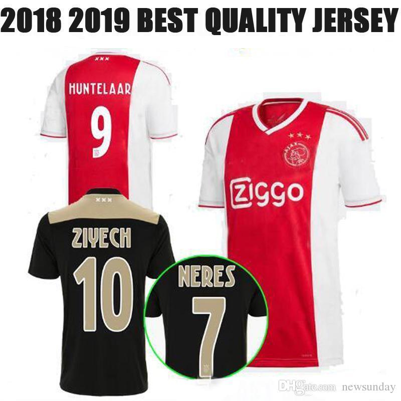 ca4bd9297 2018 2019 Ajax FC Soccer Jersey 9 Huntelaar 10 ZIYECH 25 Dolberg NERES  SCHONE 34 Nouri 18 19 Red Black Customized Name Football Shirt UK 2019 From  Newsunday ...