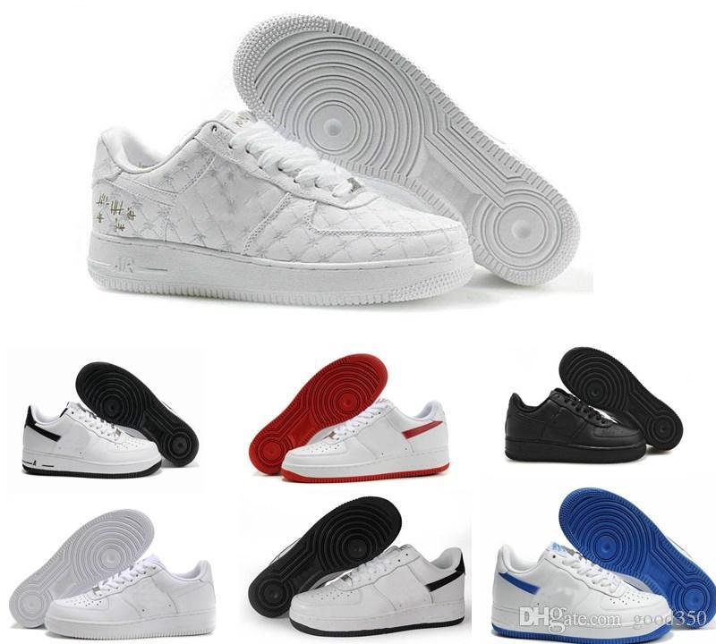 size 40 f5e87 73723 Acquista 2018 New Forces One 1 Low HighClassico Basso Bianco Nero Grano  Uomo Donna Sneaker Da Corsa Scarpe Da Corsa Scarponcino Da Allenamento  Sneaker ...