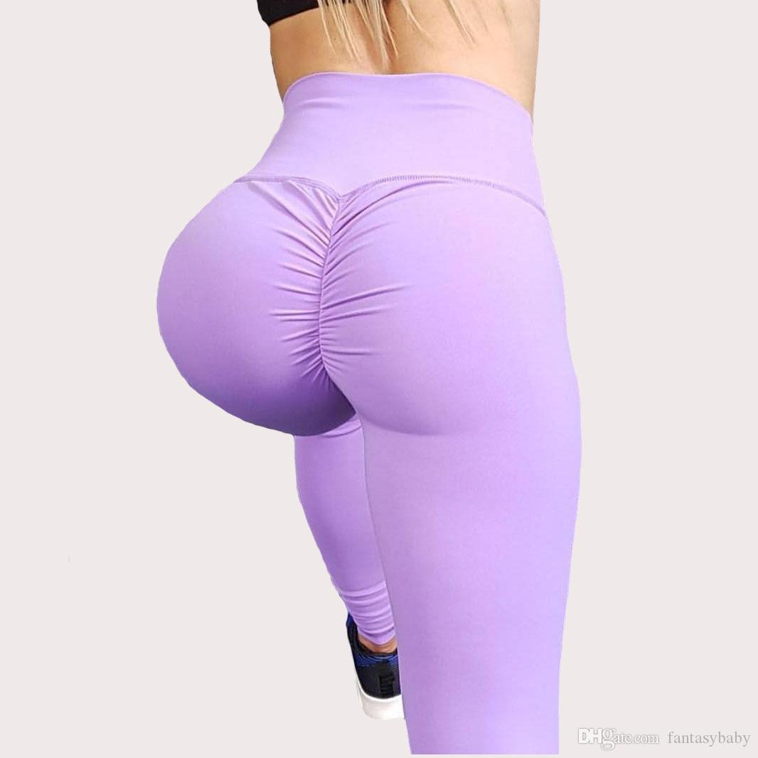 ee897030aa63 2019 Solid High Waist Yoga Pants For Women Soft Sexy Push Up Gym Sport  Leggings Sexy Push Up Buttock Lifting Trousers From Fantasybaby