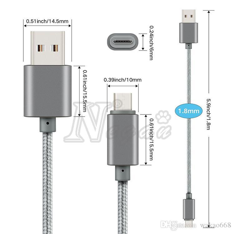 Metal Housing Braided Type C Micro USB Cable 2A Durable High Speed Charging Charger Cable with 10000 Bend Lifespan for Android Smart Phone