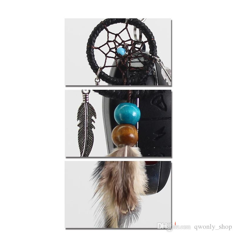 Small HandmWind Chimesade Feather Dream Catcher Keychain Decor Car Bag Hanging Decoration Pendant New Year Dreamcatcher Gift 2018