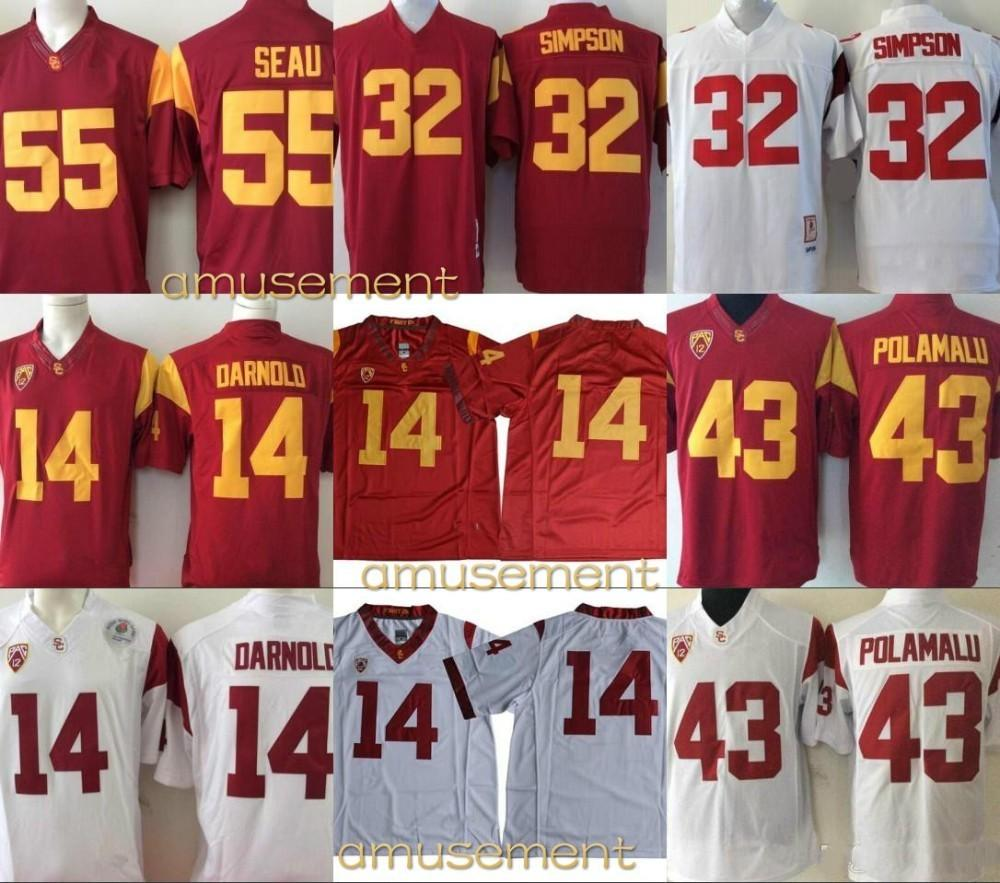 9c96b7e4a Men NCAA USC Trojans  14 Sam Darnold 43 Troy Polamalu 32 O.J. Simpson 55  Junior Seau Red White College Football Limited Stitched Jersey Online with  ...