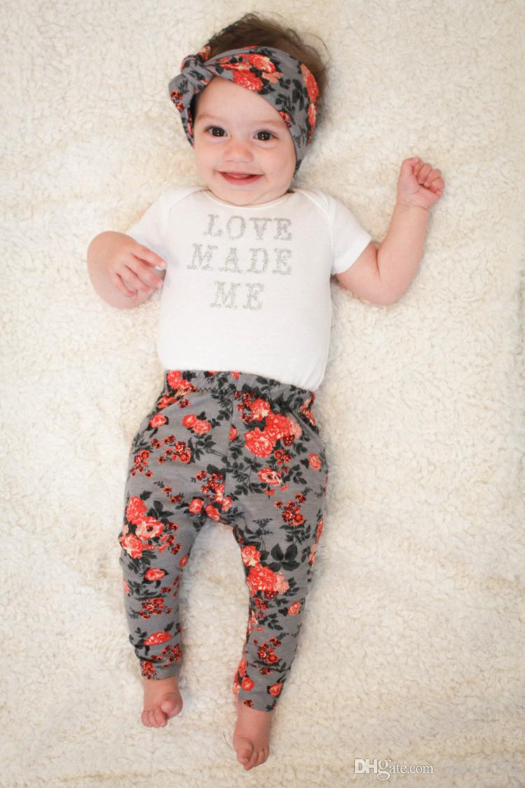 Newborn Baby Pants Set Trousers+Bunny Ear Headband+Bib Outfits Set Cute Girls Bottom Floral Leggings Printed Flower Long Pants 0-24M P1