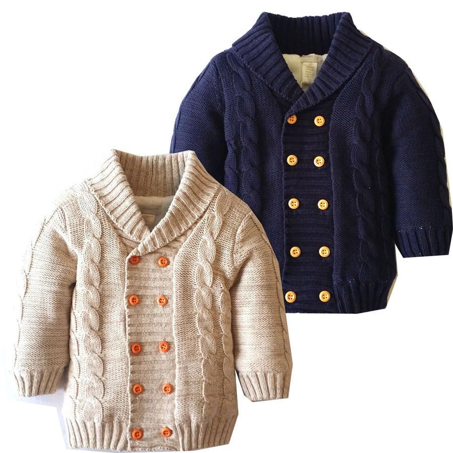 Boys Cardigan Knitting Pattern Spring Thick Warm Velvet Sweater For ...