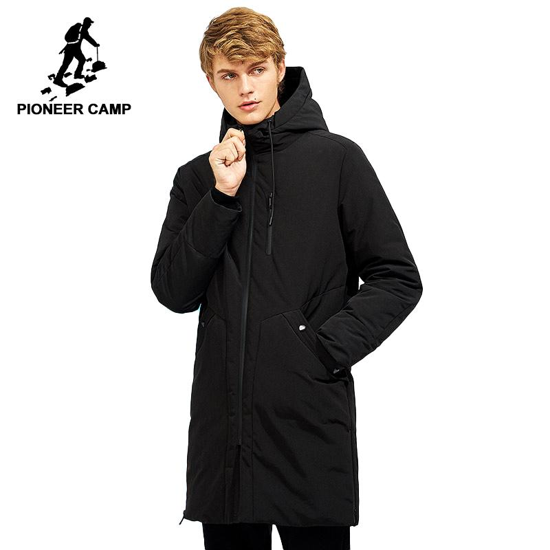 Acquista Piumino Pioneer Camp Impermeabile Invernale Uomini Giacca Marchio  Di Abbigliamento Con Cappuccio Nero Lungo Caldo Bianco Anatra Giù Cappotto  ... 6d7ebf34630