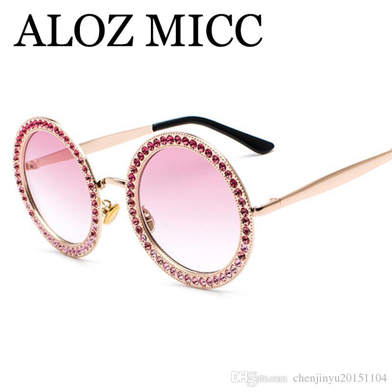 Acheter ALOZ MICC 2018 Nouveau Femmes Ronde Lunettes De Soleil De Luxe  Cristal Diamant Lunettes De Soleil Femmes Ombres Alliage Cadre Oculos UV400  A509 De ... 98d35bd49678