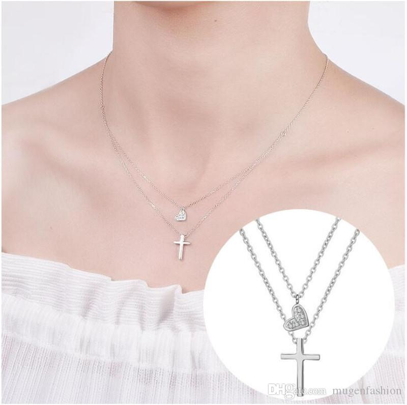 Wholesale hot sale korean fashion real silver necklace women 925 wholesale hot sale korean fashion real silver necklace women 925 sterling silver cross pendant two layer chain heart necklace jewelry dropshipping horseshoe aloadofball Image collections