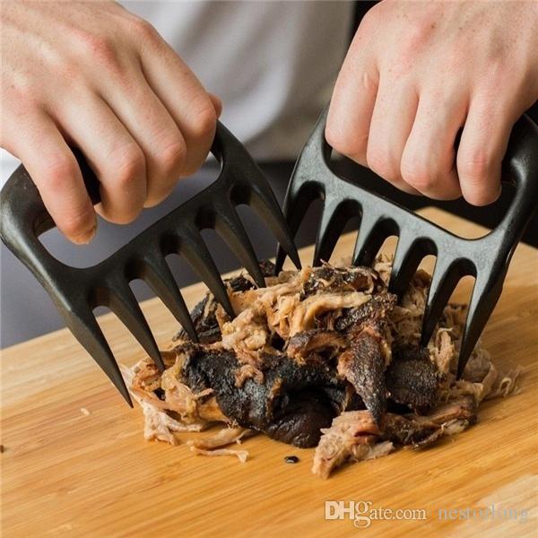 2 unids / lote Garras de Carne de Oso Carne de Barbacoa Negro Garras Herramientas Trituración Levantamiento de Tenazas Manipulación de Manija