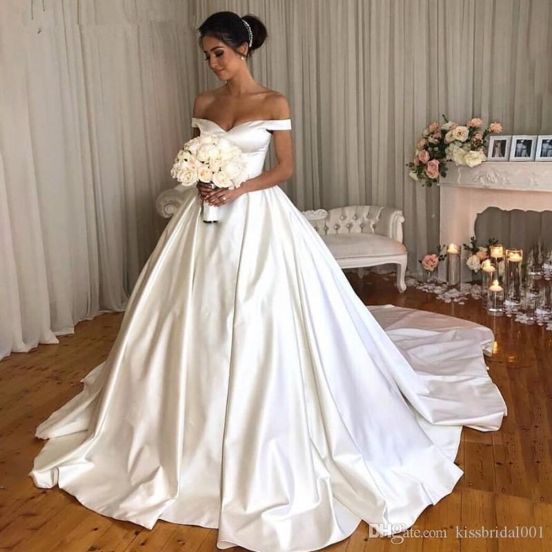 Chic Ivory Satin Wedding Dresses 2019 Princess Ball Bridal