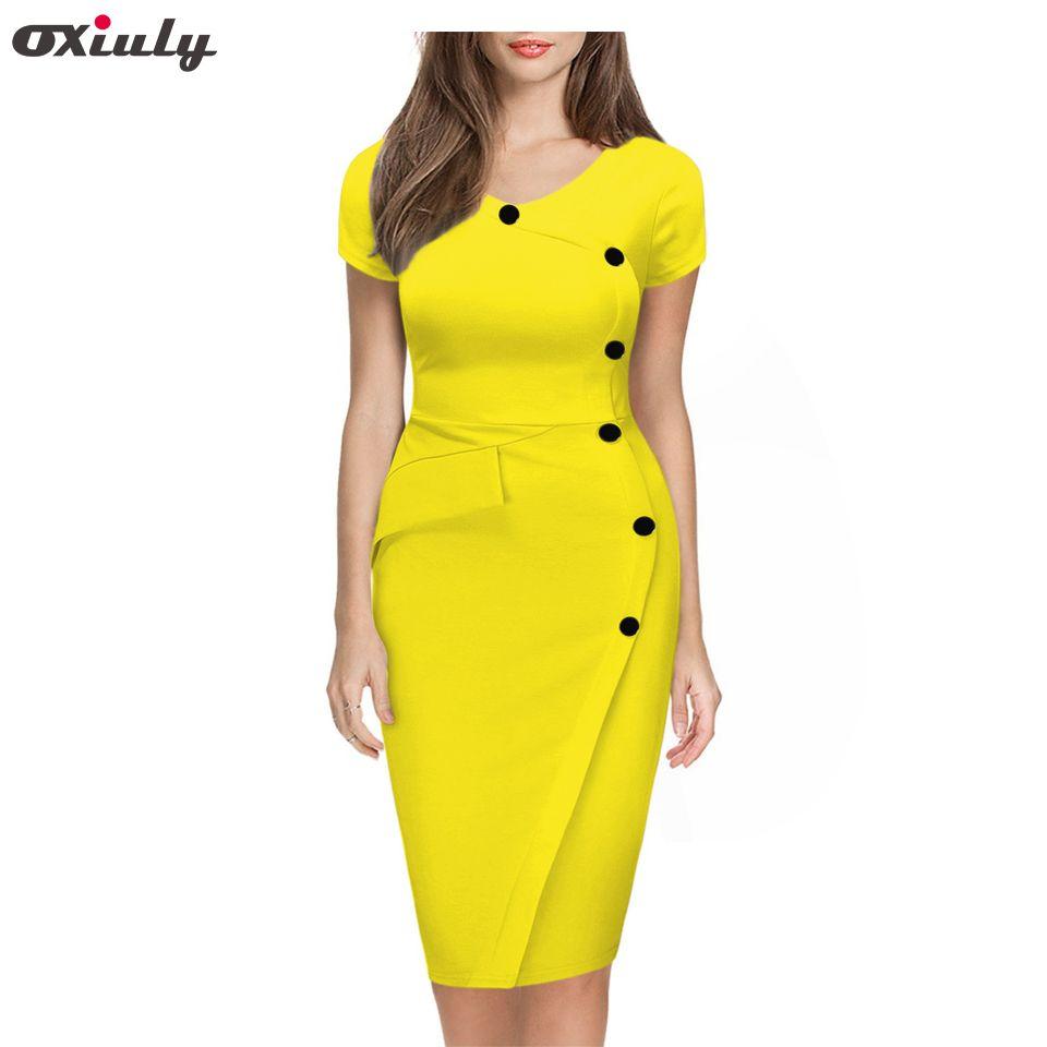 fd536f9eba06c Oxiuly 2018 Summer Women Solid Black White Orange Green Dresses Casual  O-Neck Bodycon Knee-Length Dress no BeltY1882301