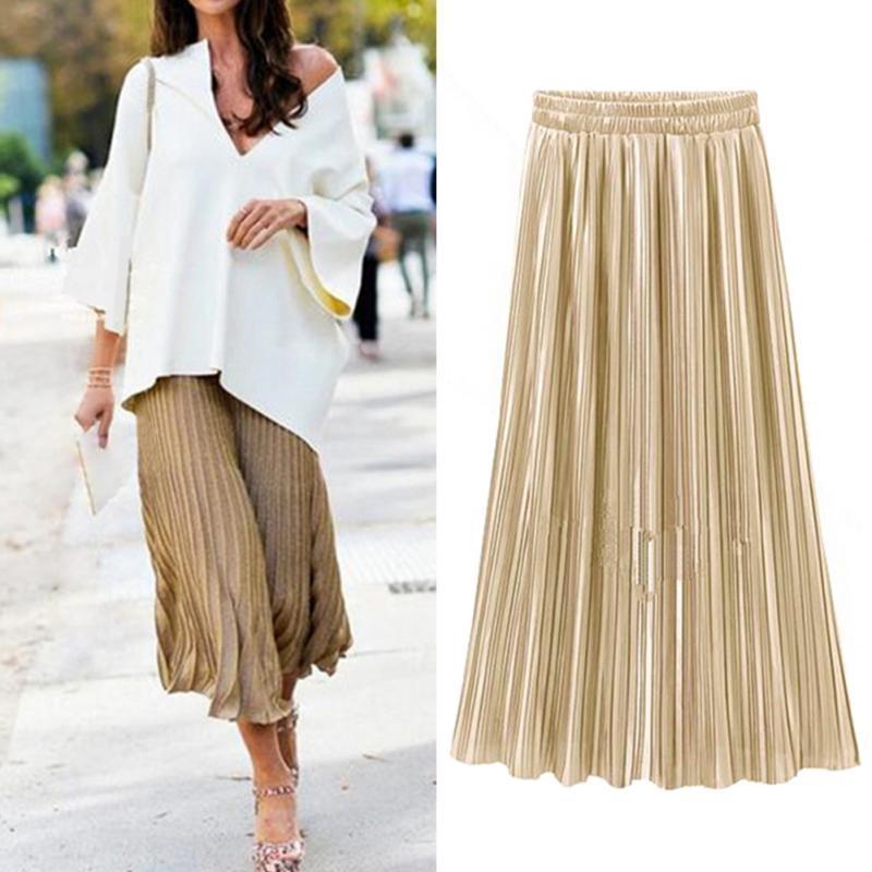 2cc5469c71 Compre Casual Faldas Plisadas Para Mujer 2018 Nueva Moda Streetwear Falda  Midi Sólida Señoras Elástico Cintura Alta Falda Vintage Mujeres A  30.72  Del ...