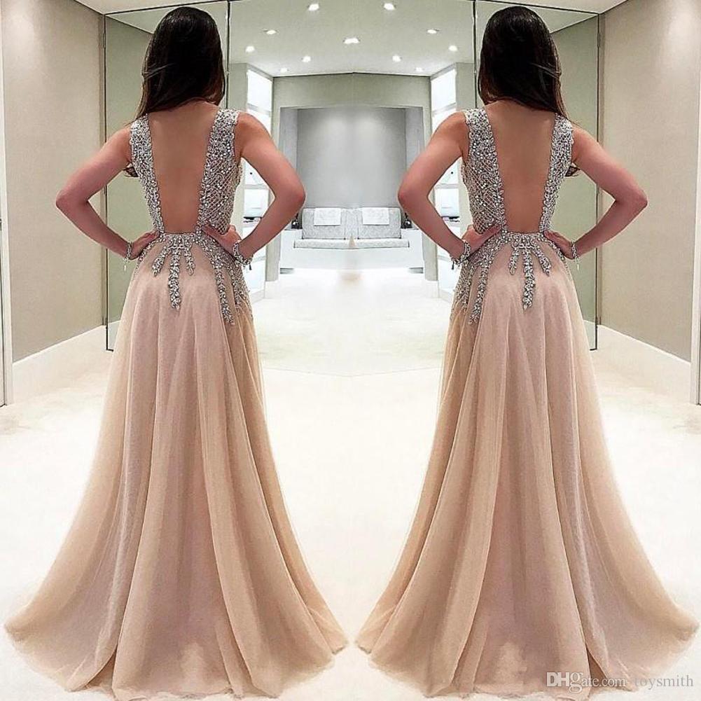 Vintage Deep V-Neck Crystal Applique Beading Backless Guest Dress Chiffon Elegant Split Full Length Party Prom Dress