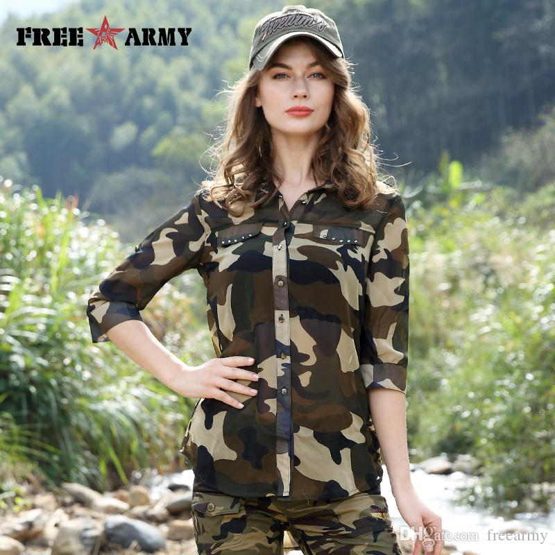 d6594765ddf0b Free Army Women's Camouflage Chiffon Shirts Tops Tees Five Sleeves Designer  Fashion Casual Shirts Sexy Blouse Ladies GS-8592