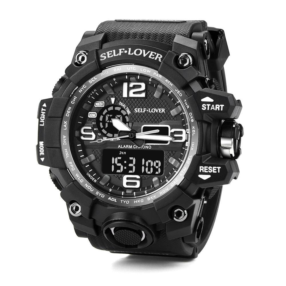 Herrenuhren Drop Versand Uhr Wasserdicht Datum Led Digital Sport Quarz Analog Mens Military Armbanduhr Schnelles Senden Freies Verschiffen C920