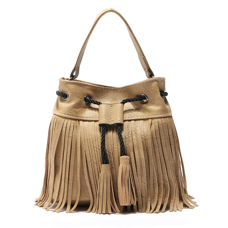 New Leather Drawstring Bucket Bag Bohemia Tassel Hand Bag Boho Chic Indian  Hippie Gypsy Tribal Bohemian Sac Ibiza Bucket Italian Leather Handbags Pink  ... c9c917f373830