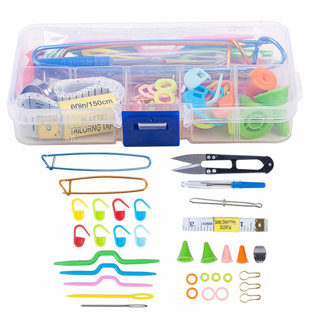 56pcs New Crochet Hook Needle Knit Yarn Weave Clip Stitches Scissors Pins Knitting Tool Kit with Case