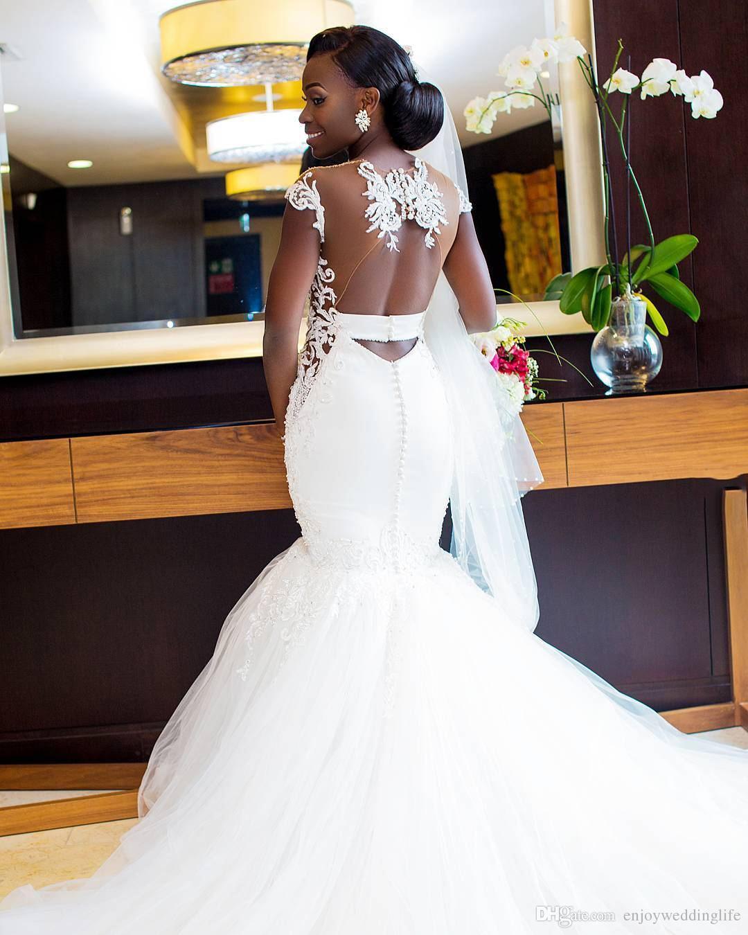 Árabe Africano Branco Sereia Vestidos de Casamento Sheer Neck Cap Mangas Sexy Voltar Voltar Tule Vestidos De Noiva Vestidos de Casamento Do Laço