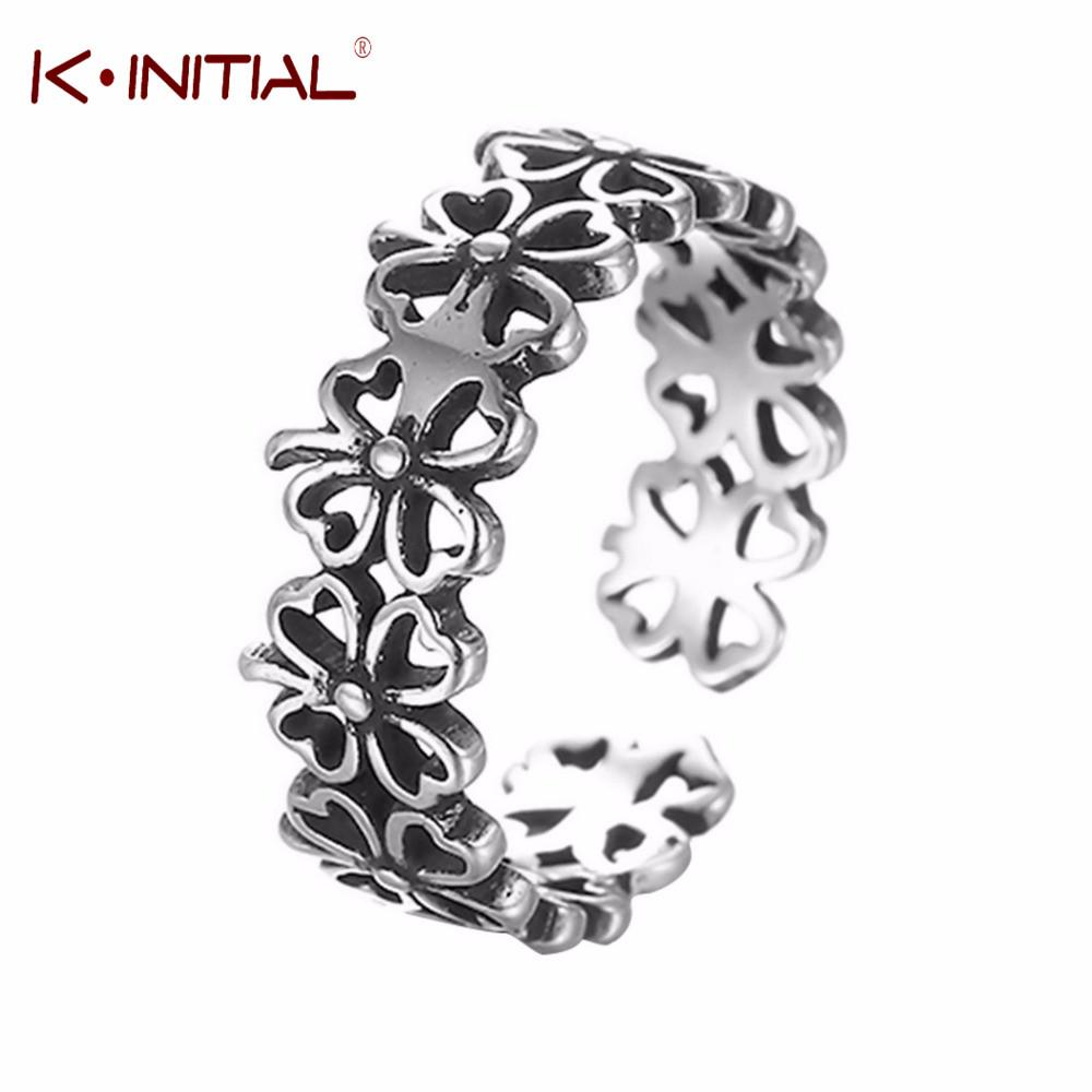 0149579d7f1 Kinitial Antique Silver Flowers Stackable Rings Knuckle Midi Pinkie ...