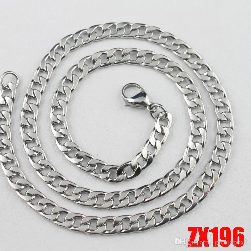 / haute qualité vente chaude 316L en acier inoxydable collier de chaîne NK de Male 6mm hommes de mode punk Figaro chaînes ZX196 450-900MM