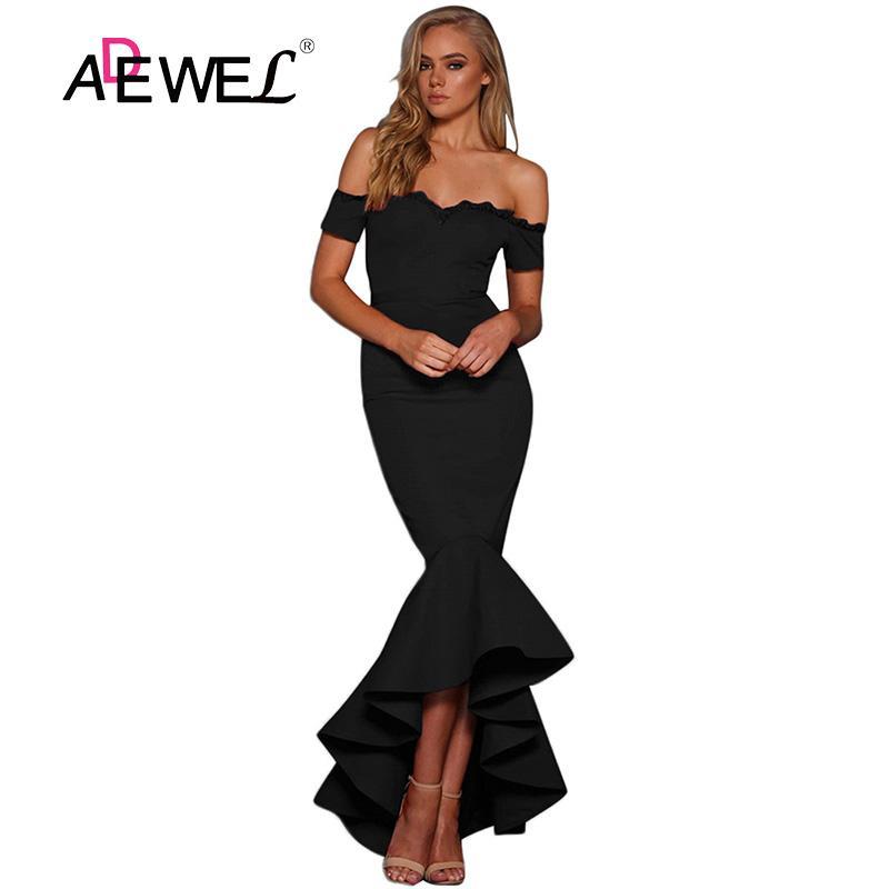 d188bc316073d Acheter ADEWEL Sexy Noir Dentelle Hors Épaule Sirène Fête Maxi Dress Femmes  Formelle À Manches Courtes Moulante Robes De Soirée Robe Longue Robe Robes  De ...