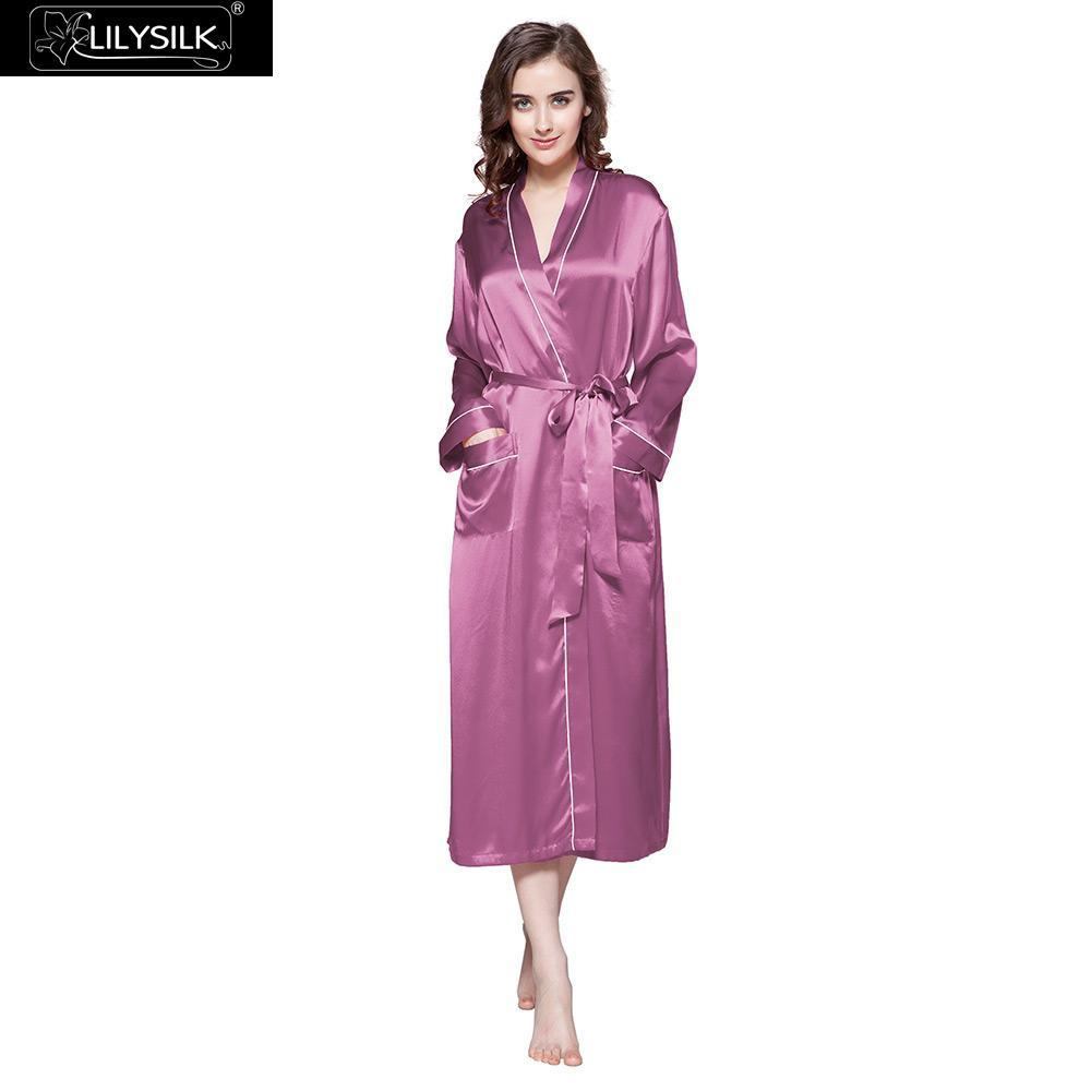 529a172825 2019 LILYSILK 22 Momme Contra Trim And Full Length Silk Robe From Vikey13