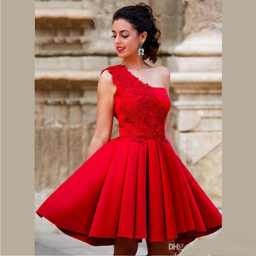 62d15eed7c New Arrival Red Mini Short A Line Homecoming Dresses One Shoulder Beautiful  Satin Graduation Party Dresses Sweet 16 Dresses Sexy Dressed Short Dresses  For ...