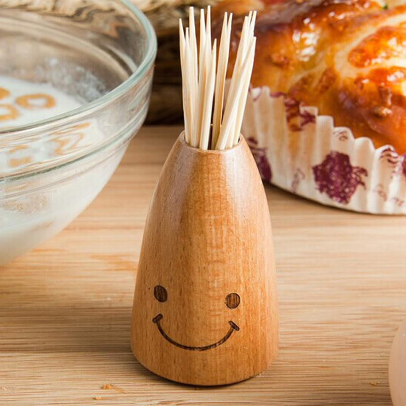Wooden Creative Smiley Face Wooden Toothpick Holder Home Dining Table Decor