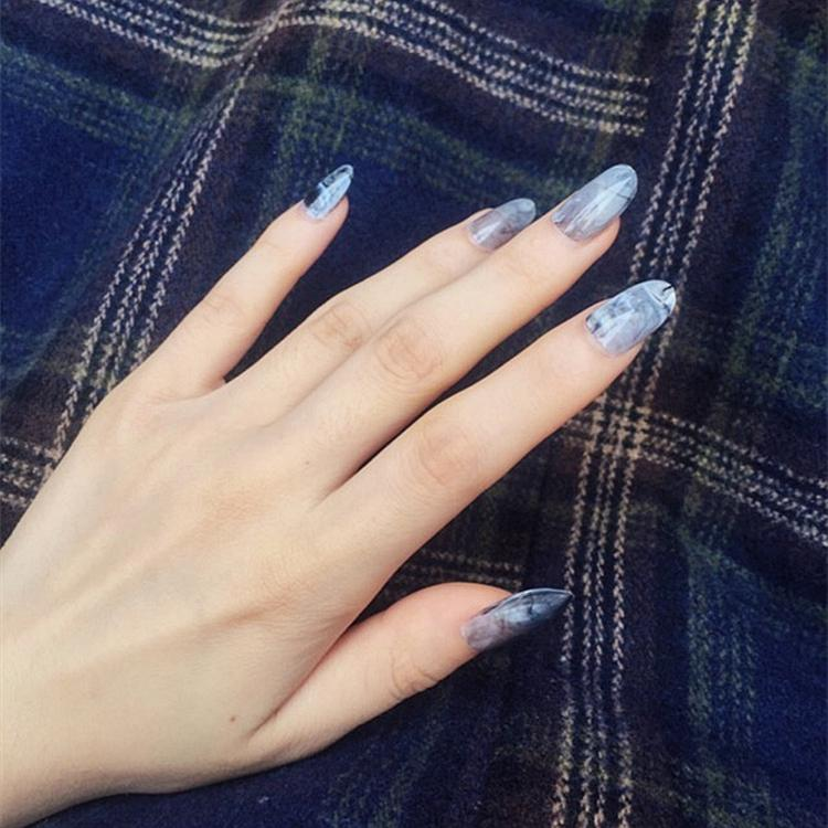 Foreverlily Stiletto Fake Nails Marble Pink Blue Full With Adhesive ...
