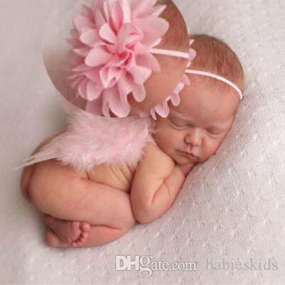 Novelty Newborn Baby Girls Headwear Pink Flower Wings Headband Costume Photography Props Baby Hair Accessories Birthday Party Hairband