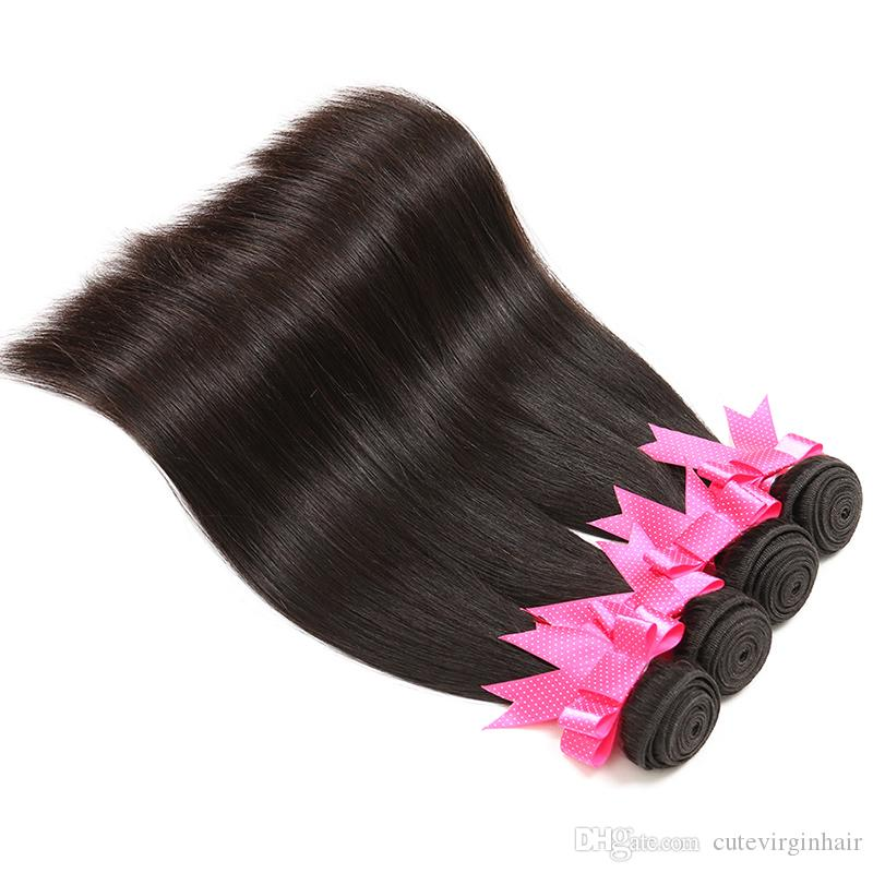 Straight Hair 8-30 Inch Brazilian Malaysian Peruvian Virgin Human Hair Weave Bundles Extension Best Quality Natural Color Vendors