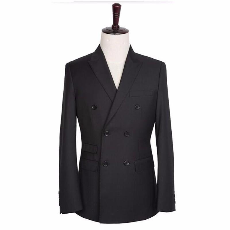 Costumes Hommes Homme Mariage Boutonnage Tuxedos Meilleur À Mesure Marié Noirs Veste Les Double Sur L53Rj4A