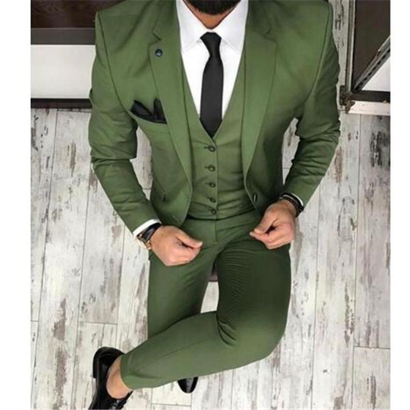 Compre Disfraz Verde Por Encargo Homme Terno Novio Esmoquin Padrinos De Boda  Trajes De Boda Para Hombres Traje De Hombres Delgados Chaqueta + Pantalones  + ... f2af83eb248e